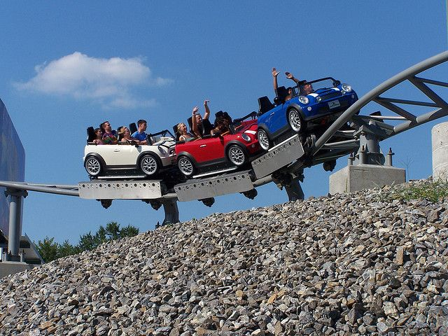 Backlot Stunt Coaster Kings Dominion Doswell, VA. One of my favorites! Love that there is scenery and a long tunnel. And, of course, the Mini-Coopers with cute license plates.