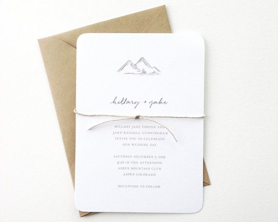 Very simple. Mountains Wedding Invitation / Winter Wedding by mariechangdesigns, $244 for 80.