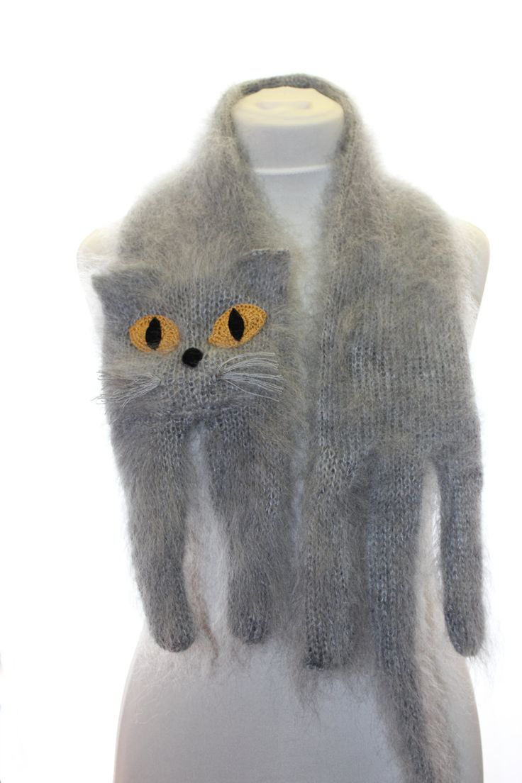 Knitted Cat Scarf -- $57.00, via Etsy.