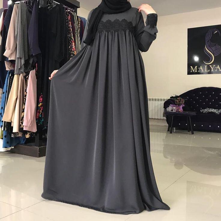 """555 Beğenme, 67 Yorum - Instagram'da Исламская одежда (@malyabisshop): """"Платье из абайной ткани с кружевом на груди, цена 3200₽"""""""