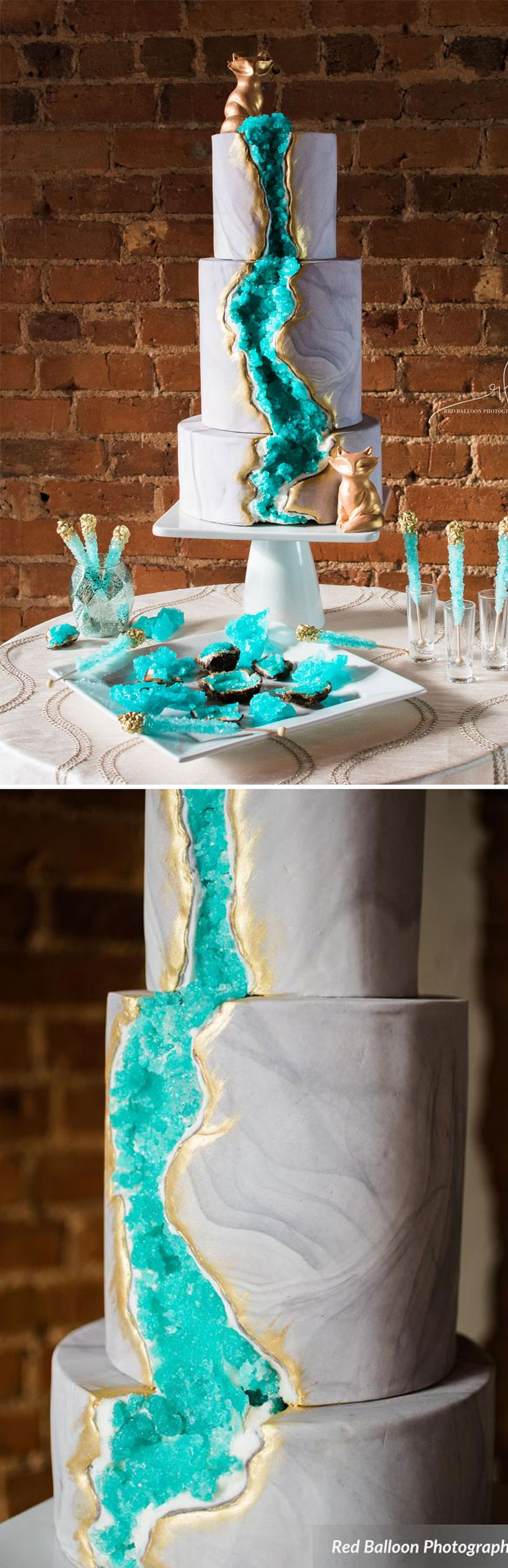 We love Three Tiers For Cake's take on the geode wedding cake trend. After all, that cascade of turquoise sugar rock is so vibrant and beautiful that it's enough to make any bride swoon!
