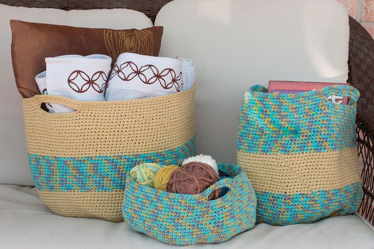 Beautifully Crocheted Handy Baskets (set of 3) by SutakuBoutique on Etsy
