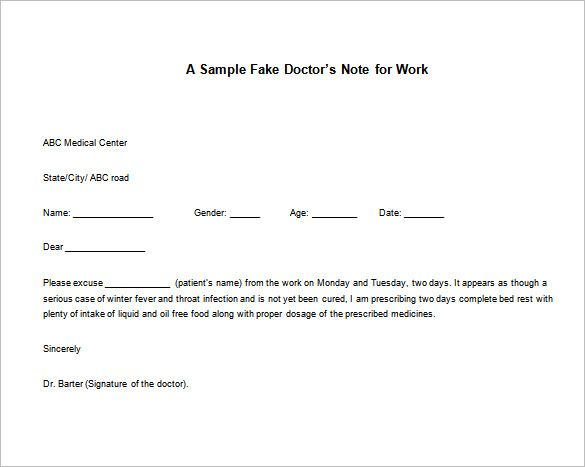 Doctor Note Templates for work u2013 8+ Free Word, Excel, PDF Download - medical note