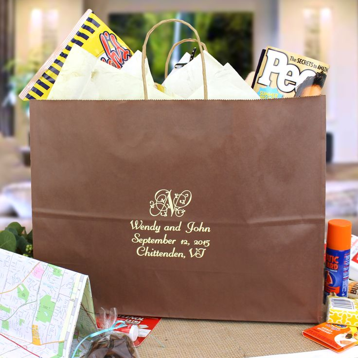 What to Put in Your Wedding Welcome Gift Bags - When deciding what to include in your wedding gift bags, consider the overall theme of your wedding. For example, if you are planning a Fall or Winter wedding, include seasonal related items in your gift bags like hot cocoa leaf shaped soaps.Other ideas for what to include in your wedding gift bags can range from the hangover helper kit to local souvenirs. Here are some ideas to help you narrow down the perfect items for your guest gifts bags.