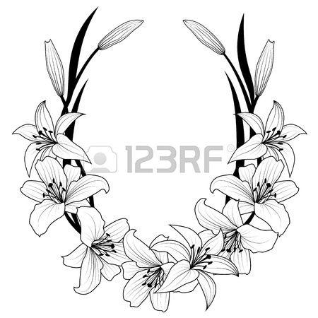 marco con flores de lirio en colores blanco y negro Foto de archivo
