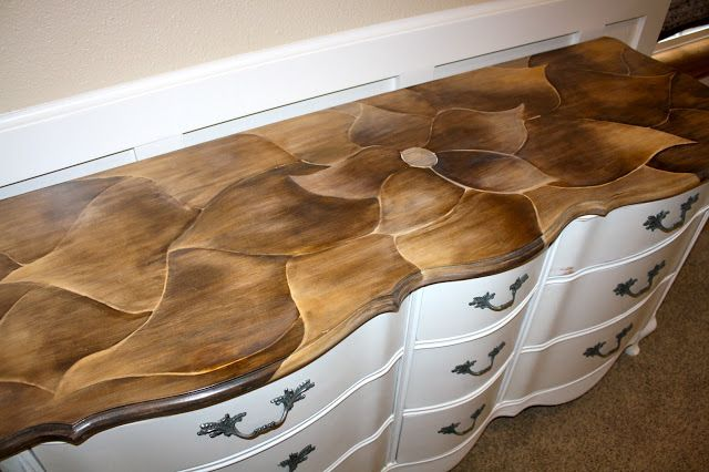 Totally cool way to stain the top of a dresser!  I'll be doing this soon!  http://alittlebitoshizzle.blogspot.com/2012/07/how-to-update-your-hardware-with-paint.html