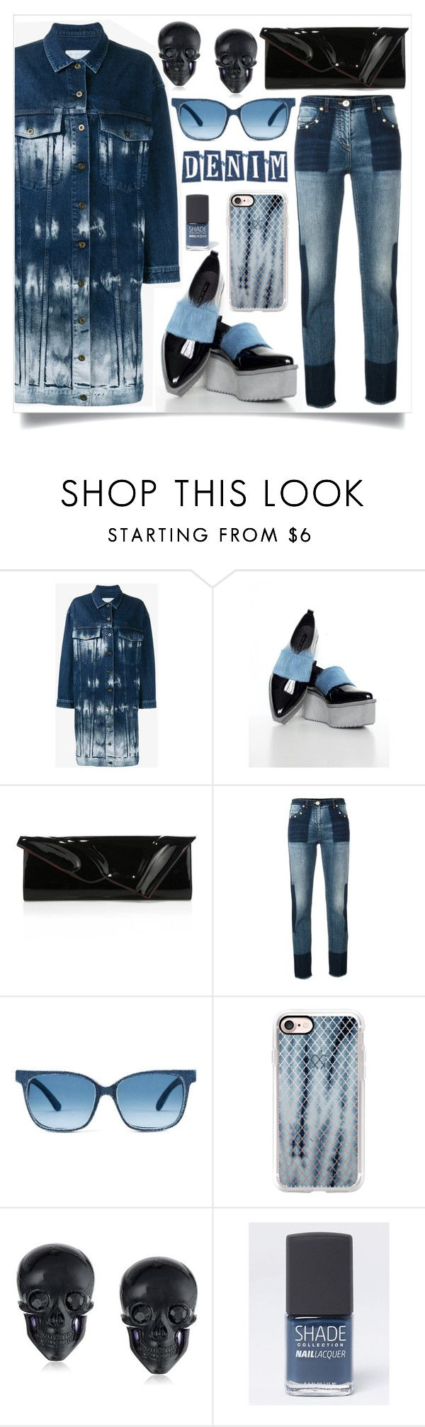 """Denim Jacket Bleached"" by skad183 ❤ liked on Polyvore featuring STELLA McCARTNEY, Jamie Wei Huang, Christian Louboutin, Versace, Casetify, Tarina Tarantino and Lane Bryant"