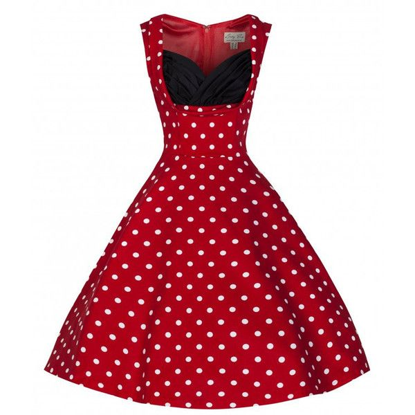 'Ophelia' Red Polka Dot Party Dress ($45) ❤ liked on Polyvore featuring dresses, red polka dot dress, red cocktail dress, polka dot cocktail dress, red dot dress and red dress
