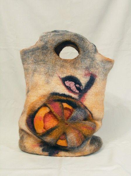"felted bag  ""MARAKANSKY ORANGE"" by lolkins_marusya, via Flickr: Pur Felt, Nuno Felt, Marakanski Orangefelt, Orangefelt Bags, Fabulously Felt, Felt Idea, Nunofelt, Felt Art, Bags Marakanski"