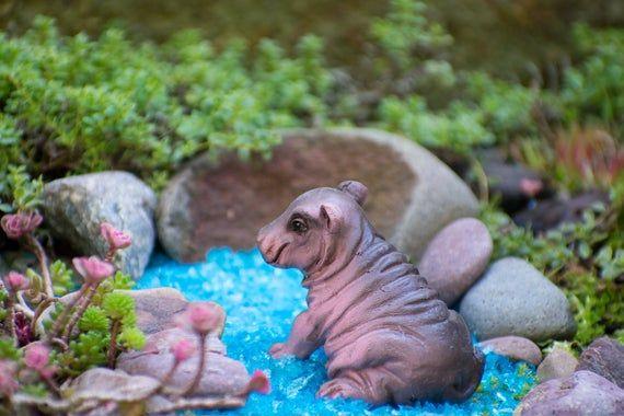 Miniature Hippo for Fairy Garden / Baby Hippo Gifts / Fairy Garden Accessories / Miniature Animals / Hippopotamus Cake Topper – Products