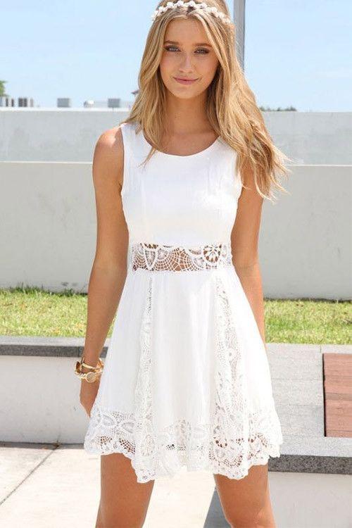 Flowy white short dresses