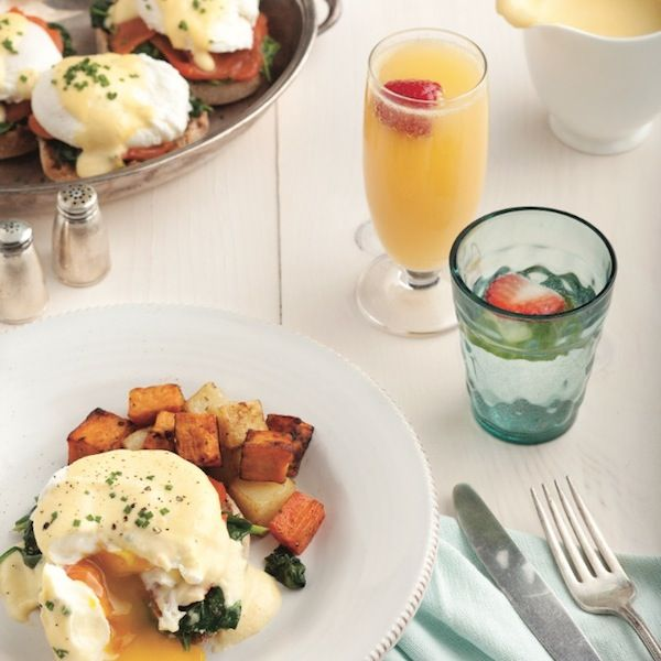 Healthy eggs florentine! Use vitamin-K-filled spinach and omega-3-rich salmon instead of ham or bacon, and spoon our heathy hollandaise overtop (the secret ingredient: yogurt!).  - Chatelaine