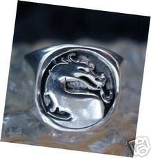 Heavy thick Mortal Kombat Ring Sterling Silver Jewelry Sterling Silver 925 Jewelry
