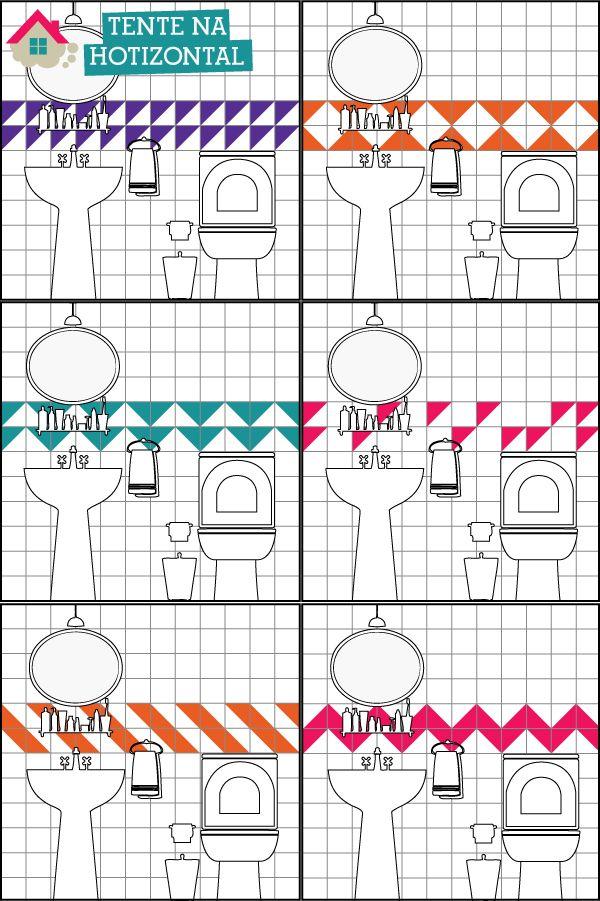 06 maneiras de renovar o banheiro com triângulos adesivos (também vale experimentar uma faixa vertical)