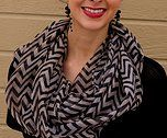 Chevron and sheer: the perfect combination for our Infinitely Chevron Scarves! Get this in brown for $15.95 on myindulgenceboutique.com