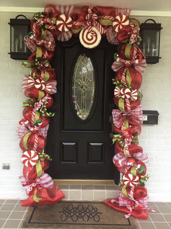 Christmas Swag Christmas Door Garland Christmas Decorations Etsy Christmas Door Decorations Christmas Swags Christmas Garland