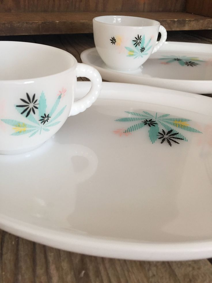Duo of 2 vintage Federal Glass Company milk glass, retro pastel leaf pattern snack sets Two snack plates with cups retro floral mid century by Atatteredtulip on Etsy