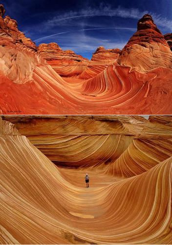 The Wave is located on the Colorado Plateau, near the Utah and
