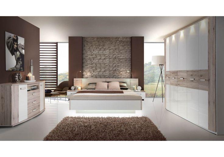 Schlafzimmer mit Bett 180 x 200 cm Sandeiche/ weiss hochglanz Woody 77-00439