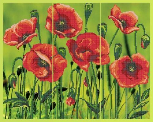 """S-128/1 """"Маки"""" триптих - рисунок на ткани   Купить рисунки на ткани «Картины бисером (рисунок на ткани)» в интернет-магазине «Мир Вышивки»"""