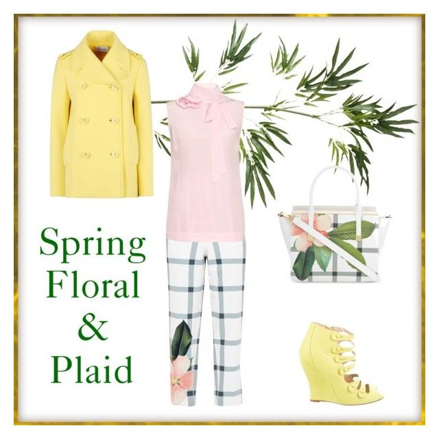 """Floral and Plaid"" by ladybug71181 ❤ liked on Polyvore featuring Pier 1 Imports, RED Valentino, Ted Baker, Oscar de la Renta and Rochas"