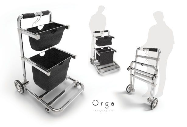 """Orga Cart was a college assignment where students were tasked to come up with shopping transportation design. """"Orga"""" is a concept shopping cart for customers to transport their purchased products inside a shop, especially in the supermarket."""