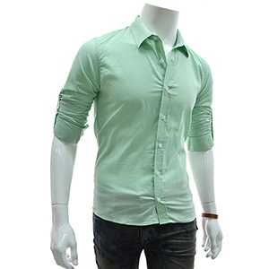 (EVS30-MINT) Slim Fit Stretchy Roll Up Long Sleeve Shirts