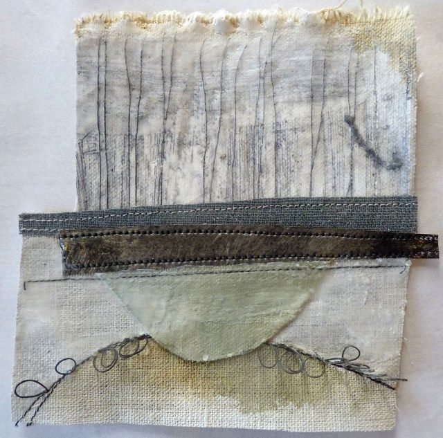 Debbie Lyddon: Small Marshscape – Pale Blue Semi-circle, Cloth, Stitch, Wax, approx. 14x14cms