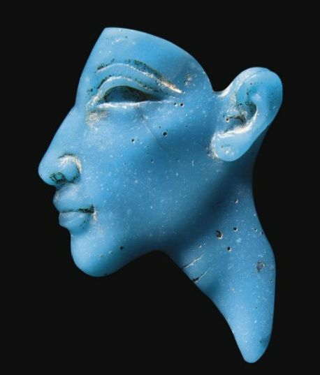 Egyptian Turquoise Glass Inlay of Akhenaten, New Kingdom, Amarna Period, Dynasty XVIII, c. 1353-1336 BC