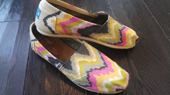 Chevron TOMS Painted Shoes  any colors by LaQuist on Etsy, $105.00