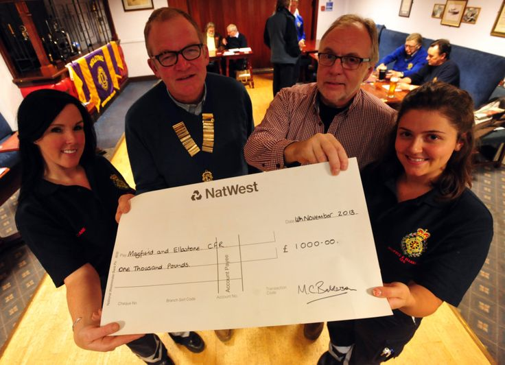 MAYFIELD and Ellastone Community First Responders have been presented with a £1,000 donation from Ashbourne Lions Club