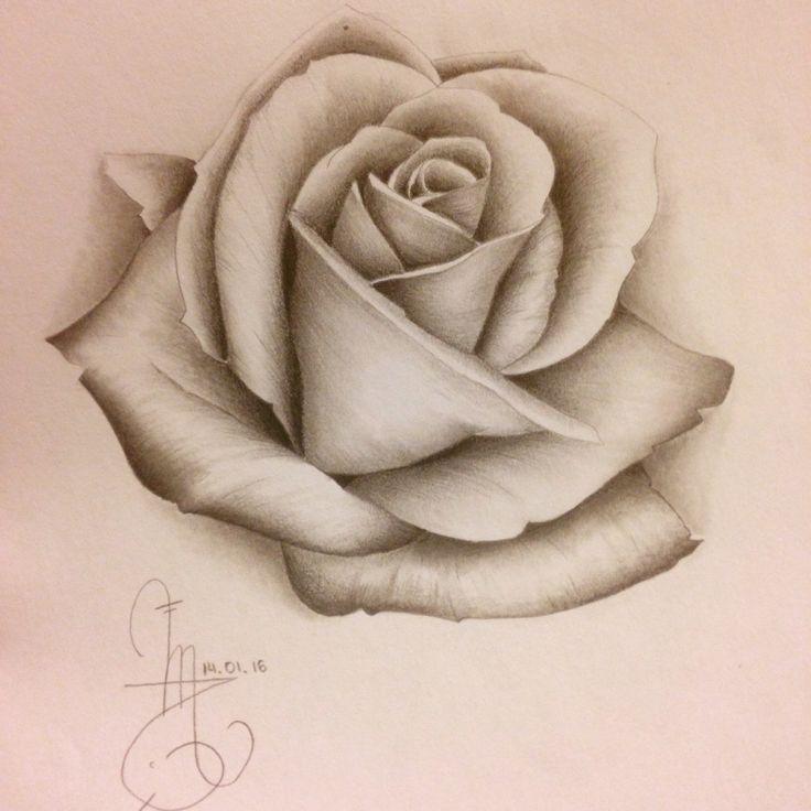 une deuxi me rose r aliste tableau flower tattoos. Black Bedroom Furniture Sets. Home Design Ideas