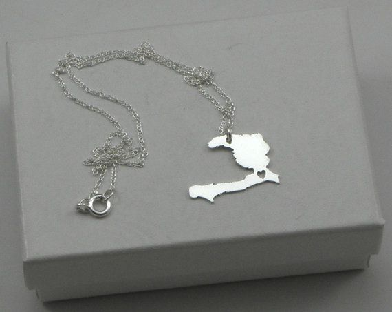 Haiti Love Heart Necklace - Sterling Silver Personalized Country