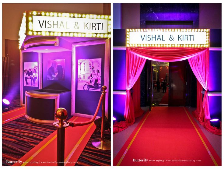 Entrance Of The Venue Bollywood Theme Bride And Groom Name On Board
