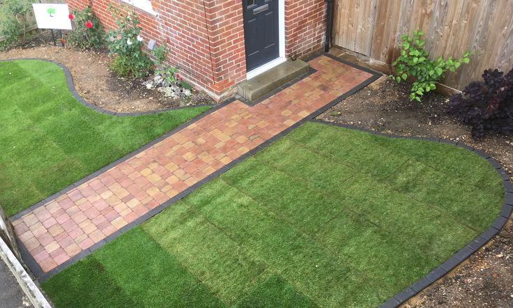Autumn brown rumbled block pavior path with charcoal edging #paths