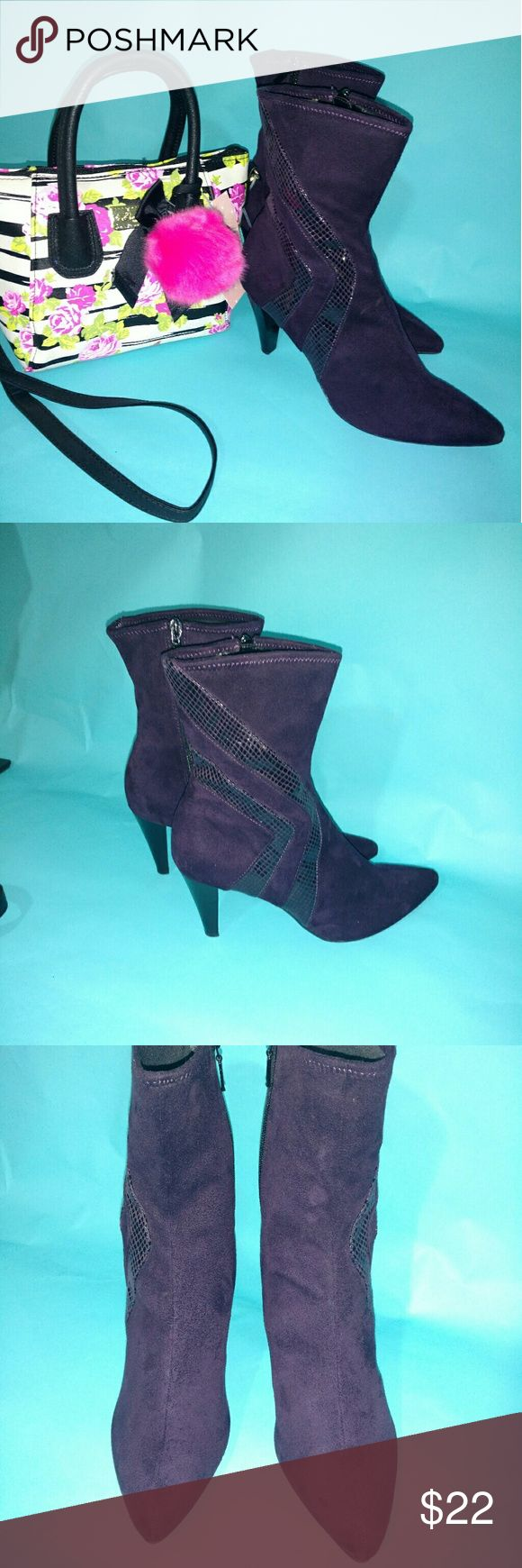 "Impo stretch purple ankle boots 8 1/2 Dark purple ankle boots, side zip, stretch, heel height 3"". snake skin zig-zag design going up outside of boot. Size 8 1/2 Impo Shoes Ankle Boots & Booties"
