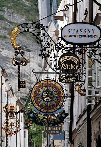 Historic Old Town Lane With Wrought-iron Shop Signs,Getreidegasse Alley,Salzburg,Austria,Europe Stock Photos / Pictures / Photography / Royalty Free Images at Inmagine