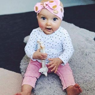 Pink and spots #babyfashion #cutebaby    #MamaFashionMe - Aussie Online Store with Beautiful Accessories for Girls + Some for Boys