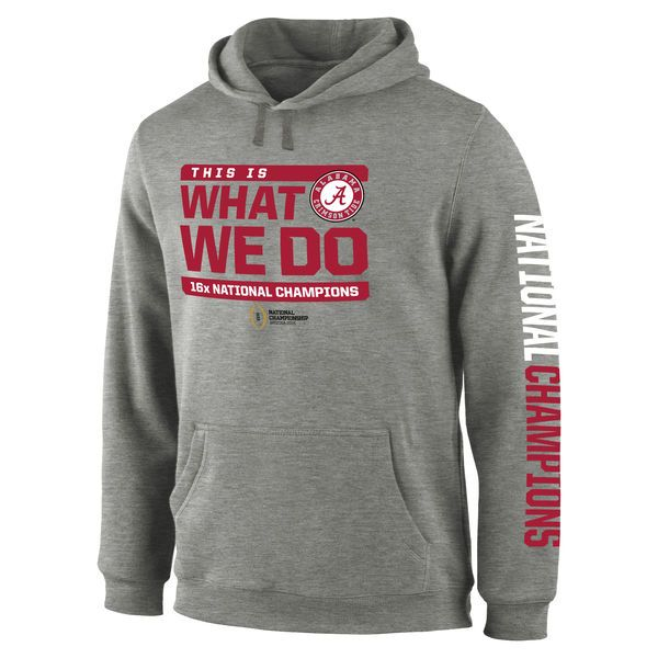 Alabama Crimson Tide College Football Playoff 2015 National Champions Wide Receiver Hoodie - Gray - $50.99