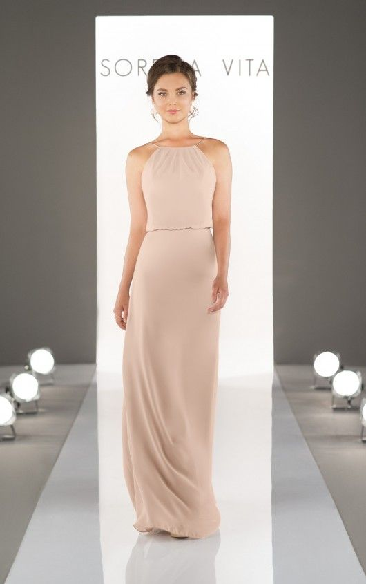 8872 High neck with thin strap bridesmaid dress with over layering at the waist! The new Vintage rose colour is hot off the rails!