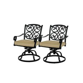 Allen Roth Set Of 2 Belthorne Black Seat Aluminum Swivel Rocker Patio  Dining Chairs $250