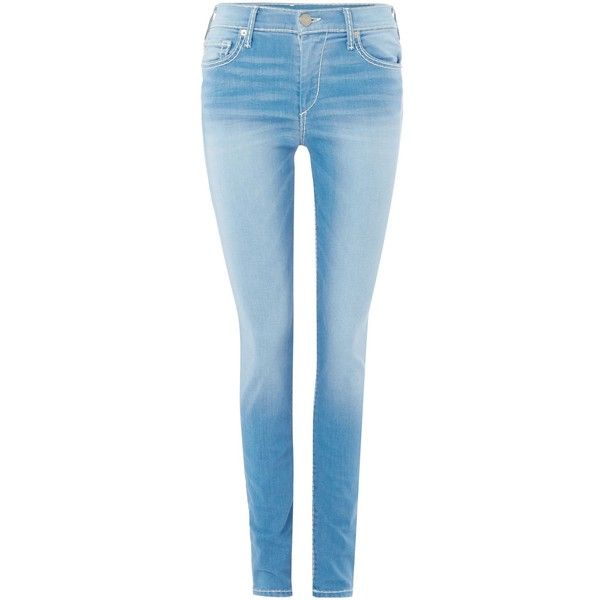 True Religion Halle skinny roll up jeans ($415) ❤ liked on Polyvore featuring jeans, light blue, women, medium wash skinny jeans, stretch jeans, blue jeans, stretchy skinny jeans and rolled up skinny jeans