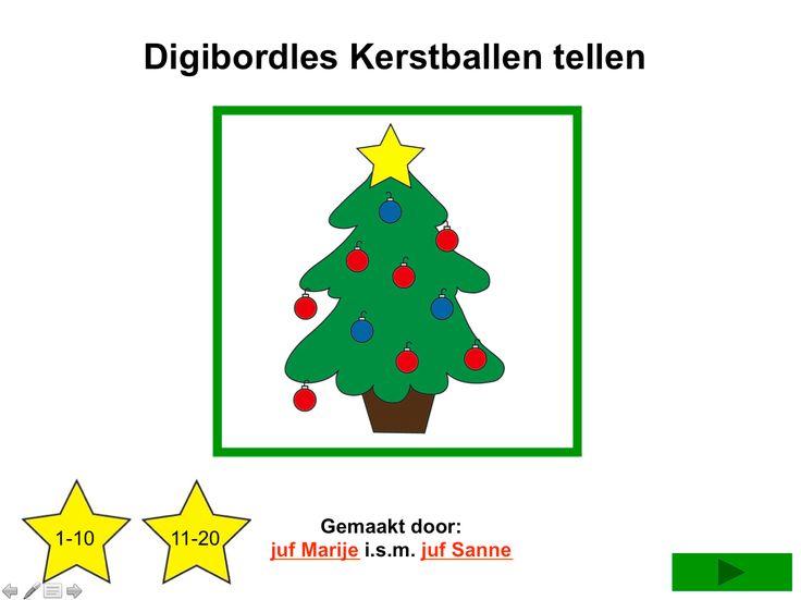 Digibordles Kerstballen tellen