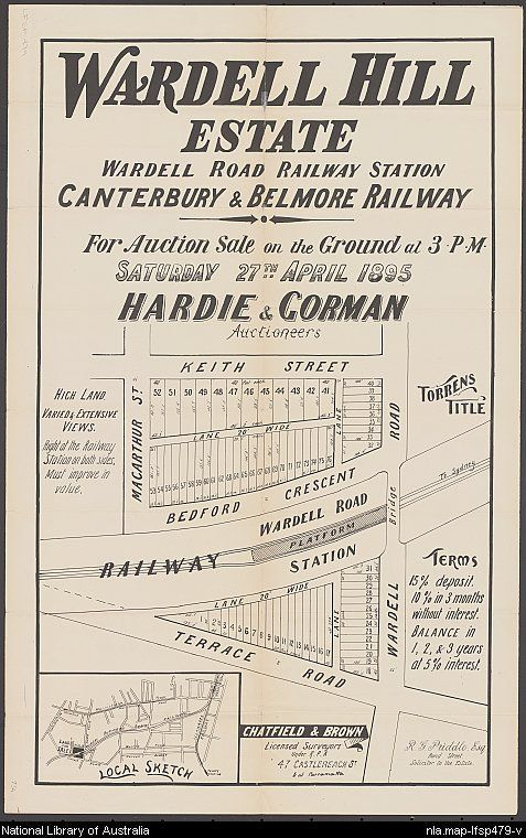 Wardell Hill Estate, Wardell Road Railway Station, Canterbury & Belmore Railway. Sales plan for land in the suburb of Dulwich Hill in Sydney bordered by Terrace Road, Bedford Crescent, Macarthur Street, Wardell Road and Keith Street. Courtesy National Library of Australia.