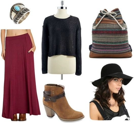"""This is a super stylish yet relaxed ensemble that's perfect for fall – wear it while flea market hunting, attending a relaxed outdoor concert, or just to class. Simply pair a flowy burgundy maxi skirt with a cropped black sweater, then slip on buckled ankle boots for a rustic touch (and a bit of height). Accessorize with a turquoise ring, a printed drawstring bag, and a floppy felt hat to channel that bohemian, """"free spirit"""" vibe."""