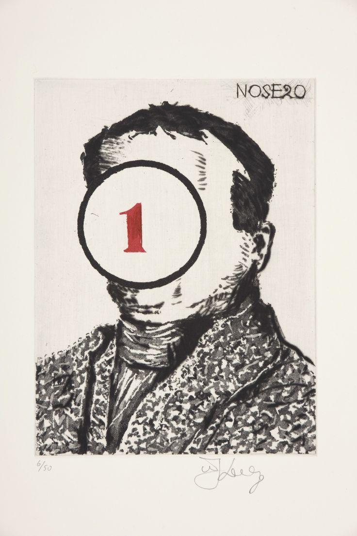 """Nose 20"" (2009) - Part of the Nose series (30 etchings) http://davidkrutprojects.com/artists/william-kentridge-nose"