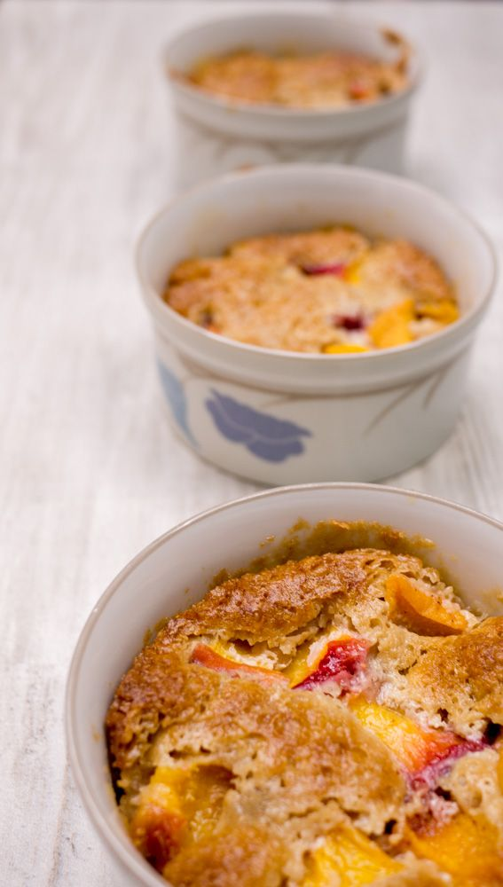 peach cobbler in ramekins is an elegant way to present guests with their individual servings. Be sure to top this rockin peach cobbler with ice cream!