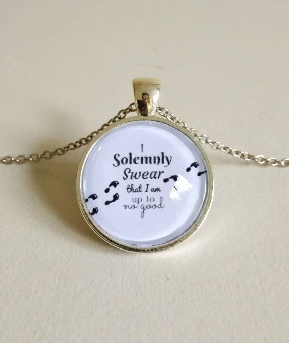 I solemnly swear that I am up to no good! Harry Potter Necklace  Free Shipping  by FeathersandStars on Etsy