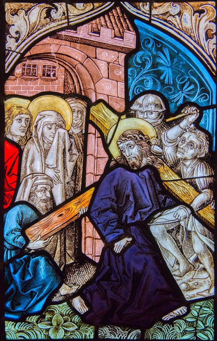 Stained glass window with Jesus carrying the Cross from the Church of Saint Clare in Nuremberg by workshop of Michael Wolgemut, ca. 1480, Muzeum Uniwersytetu Jagiellońskiego (MUJ)