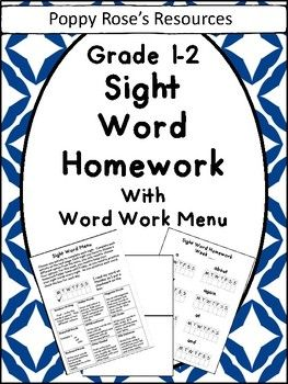 Encourage sight word recognition with this amazing sight word homework pack! Product contains : The second 120 high frequency sight words on weekly homework sheets (8 per page) Sight word Choice menu for various activities ( Canadian spelling of COLOUR
